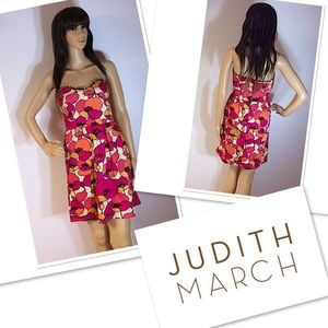JUDITH MARCH BOLD FLORAL STRAPLESS DRESS